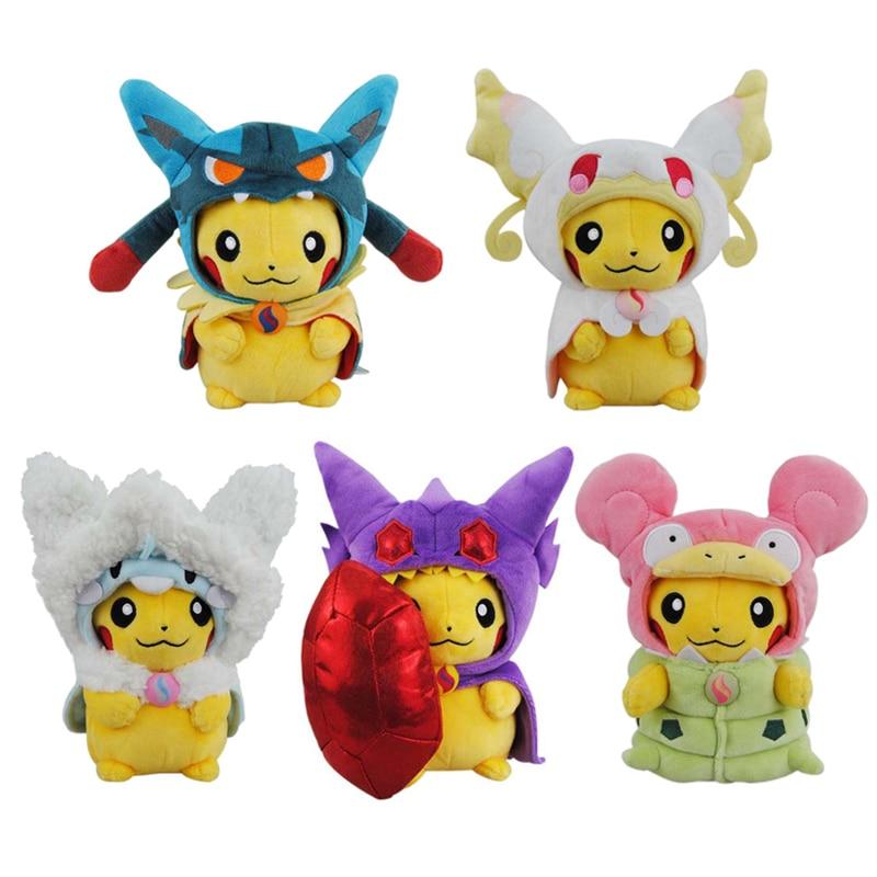 Cartoon Plush Toys 23cm Cosplay Pikachu Mega Charizard Soft Stuffed Animals Dolls Children Toys kids Christmas Gifts