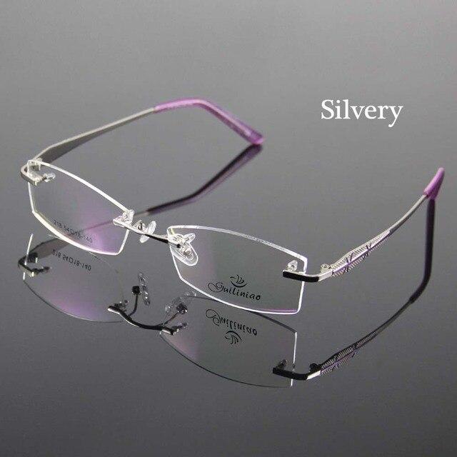 Rimless Glasses Frame Women Rectangle Eyewear Frames Eyeglasses Women Frame Prescription Spectacles Women grau