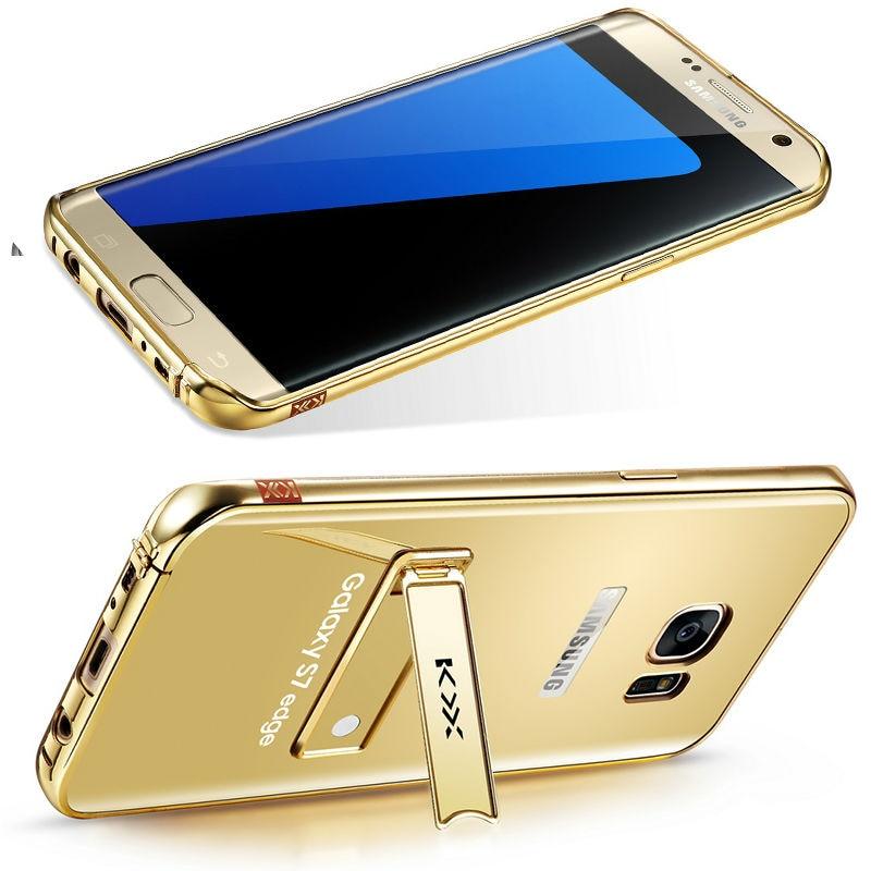 imágenes para REFUNNEY Soporte Hebilla Tipo Espejo de la Galjanoplastia de Lujo del Metal de Aluminio Caso de Parachoques para Samsung Galaxy S7 Teléfono Capinha Coque Cubierta Borde