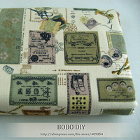 FREE SHIPPING Vintage Letter Writing Stamps Printed Linen Cotton Fabric For DIY Size 140cm 100cm B20131301