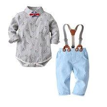 QAZIQILAND Boy Clothes Newborn Clothing Sets Broadcloth Cotton Gentleman Fashion Floral Rompers + Jeans 2Pcs/set