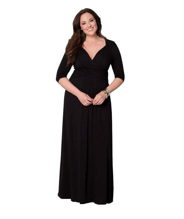 2017 women spring fashion Dress Solid Cotton Plus size Long maxi dresses L XL 2XL 3XL 4XL 5XL 6XL