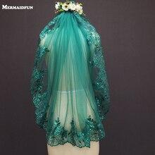 Novo 0.9 metros uma camada borda do laço verde tule véu de casamento com pente