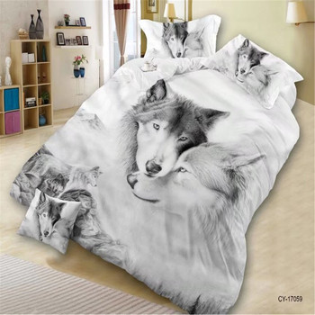 3D Animal Bedding 4 Piece Polyester Duvet Cover Set, Queen Size College Bedding Set(Tiger/Lion/Wolf/Cat/Dog)Boys Home Textiles