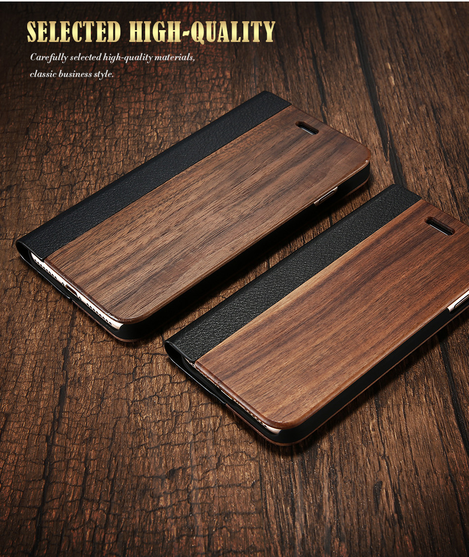 DOEES Real Wood Leather Case For iPhone 6 6S 7 7 Plus Cover Stand Holder Card Slot Vintage Cover For iPhone 6 7 Flip Wallet Case (2)