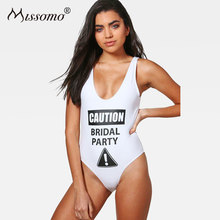 Missomo Women Sexy Bodysuit Female Letter Printed Backless Playsuit Summer Beach Rompers Simple Sweet