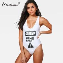 купить Missomo Women Sexy Bodysuit Female Letter Printed Backless Playsuit Bodysuit Summer Beach Rompers Simple Sweet Bodysuit по цене 596.6 рублей