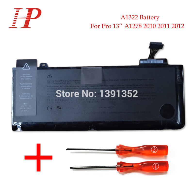 Original Cell 10.95V 63.5Wh A1322 Battery For Macbook Pro 13'' A1278 Battery 2010 2011 2012 new original a1322 battery for pro 13 a1278 unibody 2009 2012 version 10 95v 63 5wh