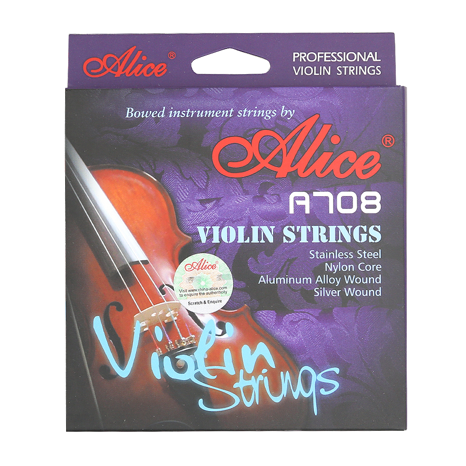 Alice High End A708 Violin Strings A FULL Set Stainless Steel Nylon Core Silver Aluminum Alloy
