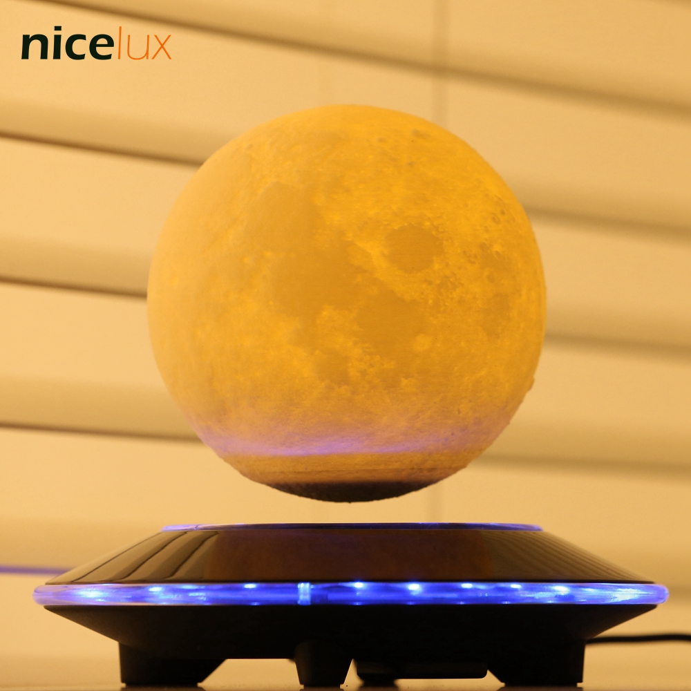 3D Print Levitation Moon Lamp, Magnetic Floating LED Night Light, Levitating Toy Gift Wireless Power Supply, Creative Home Light magnetic floating levitation 3d print moon lamp led night light 2 color auto change moon light home decor creative birthday gift