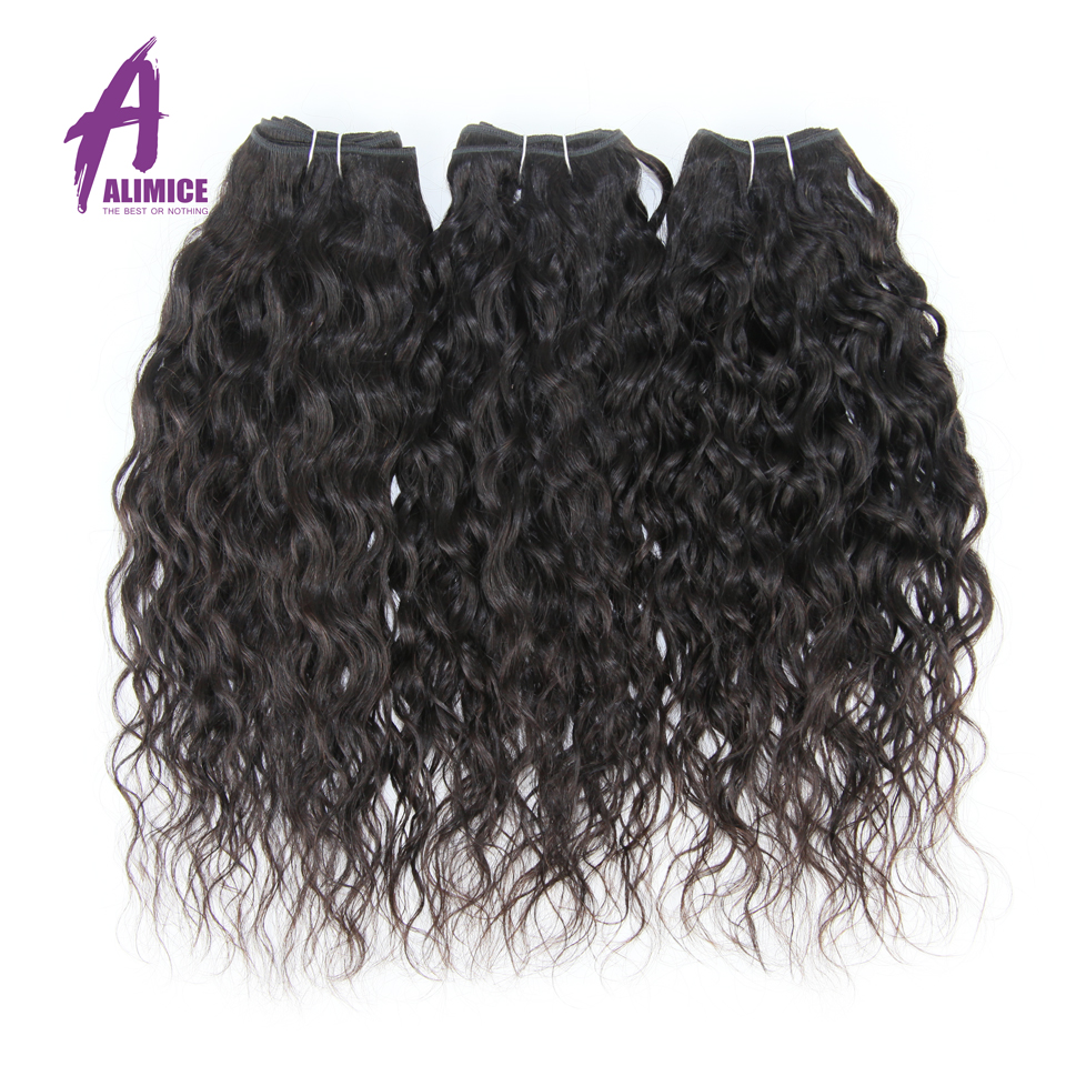 Brazilian Water Wave 3 Bundles Human Hair Weaves Bundles Alimice Hair Extensions Natural Color 100% Non Remy Hair Weft 3Pcs/Lot