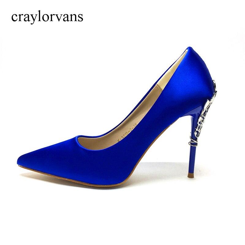 2018 бренд XUEZI высокие каблуки Для женщин Туфли-лодочки на каблуке Синие туфли женские туфли-лодочки пикантные туфли с острым носком на высоко...