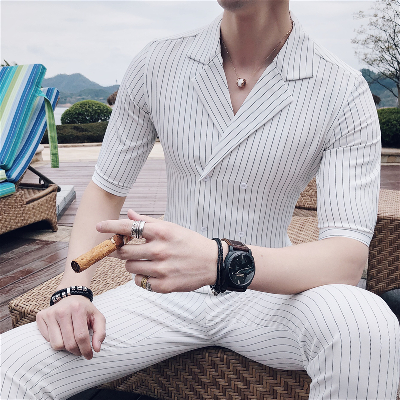 Double Breasted Suit Summer Costume Mariage Homme  Black White Grey Blue Stripe Suit Set Smoking Uomo Trajes De Hombre