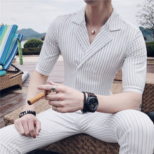 Double Breasted Suit Summer Costume Mariage Homme Black White Grey Blue Stripe Suit Set Smoking Uomo Trajes De Hombre(China)