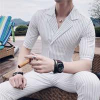 Duplo breasted terno verão traje mariage homme preto branco cinza azul listra conjunto terno fumar uomo trajes de hombre