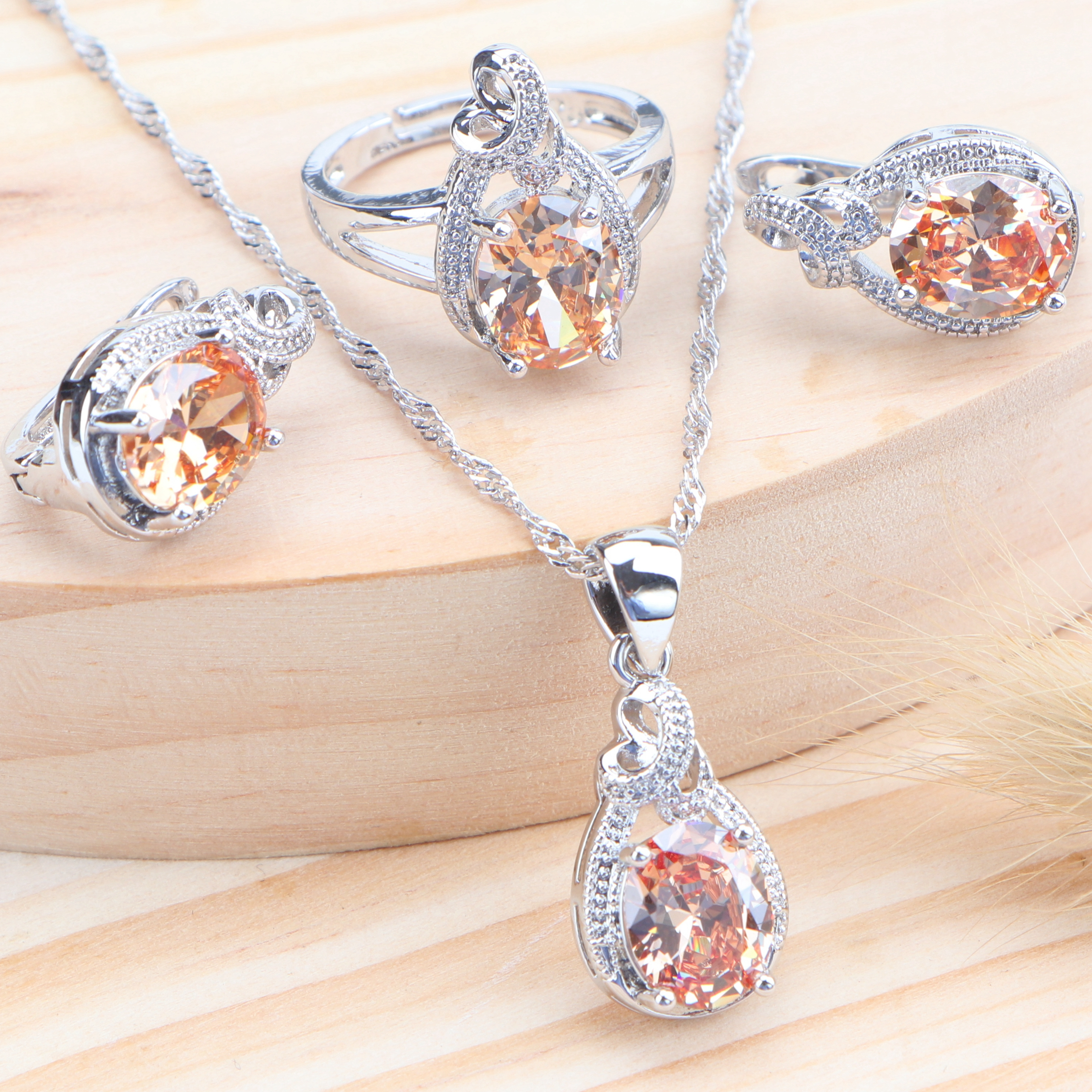 2019 Zirconia Silver 925 Bridal Jewelry Sets Kids Wedding Jewelry Earrings Rings Necklace Pendant Set For Women Accessories