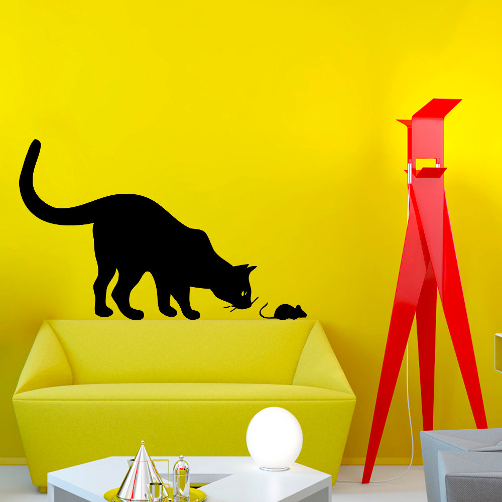 Huge Cat And Small Mouse Silhouette Wall Decal Home Funny Nursery ...