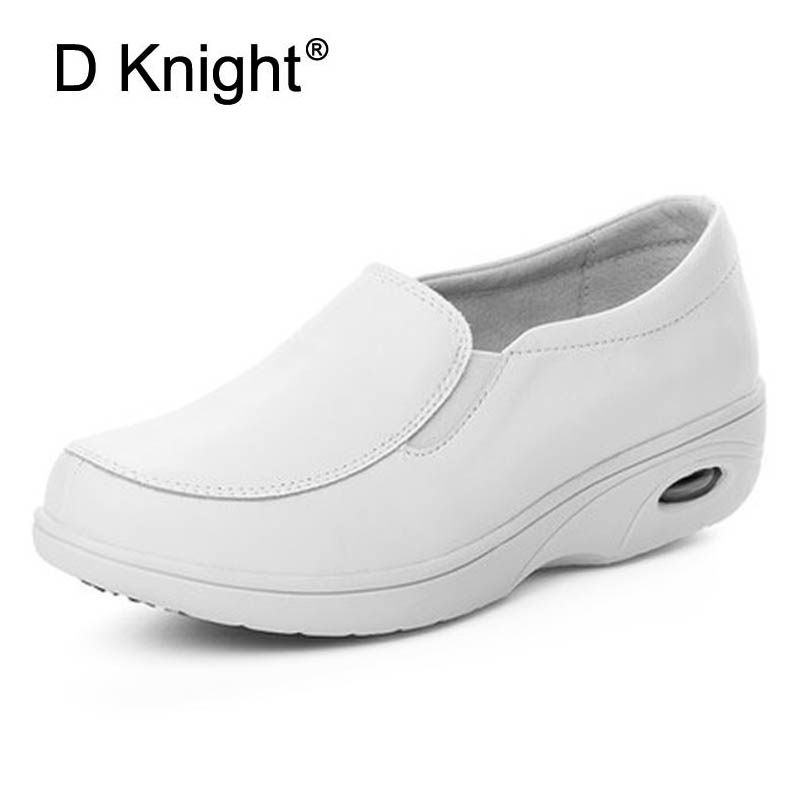 New Genuine Leather Women White Nurse Shoes Ladies Casual Platform Flats Comfortable Massage Flats For Women Doctor Work Shoes donna in 2017 spring new women platform casual shoes suede leather wedges comfortable ladies flats
