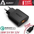 AUKEY 100% Original 2.0 Carregador de Parede + Cabo de Dados USB de Carga Rápida (18 W) para samsung galaxy para htc eua plug ue cdqpau28-eu