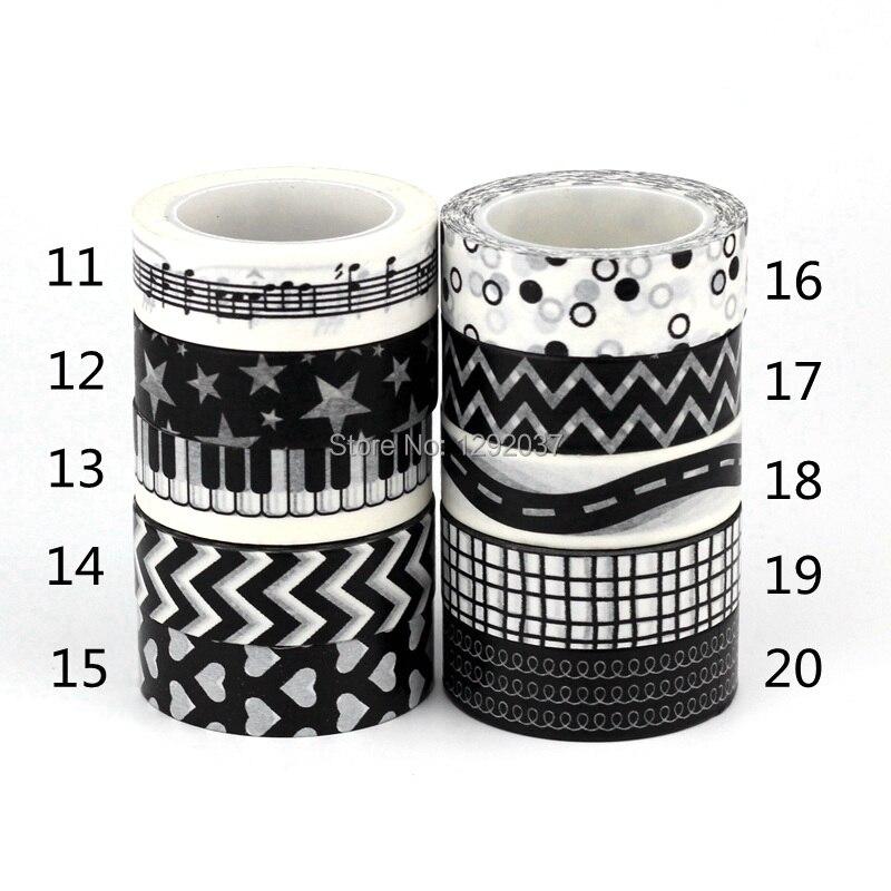 NEW 1X 15mm*10m Tape Black White Set Flower Dot Star For Scrapbooking DIY Stickers Decorative Masking Japanese Washi Tape Paper