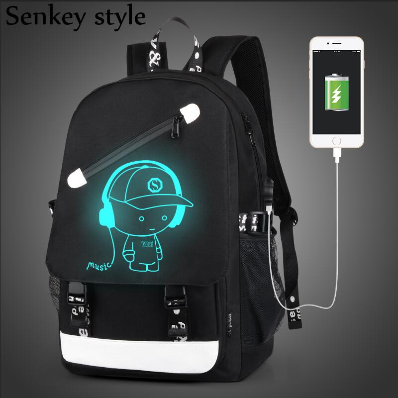 Vesnazima Boys School Backpack Student Luminous Animation USB Charge Changeover Joint School Bag For Teenager Laptop Bag WM516Z new style school bags for boys