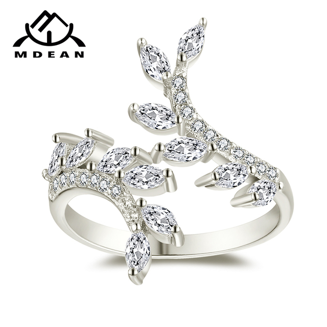 MDEAN White Gold Color Rings for Women Engagement Wedding Clear AAA Zircon Jewel