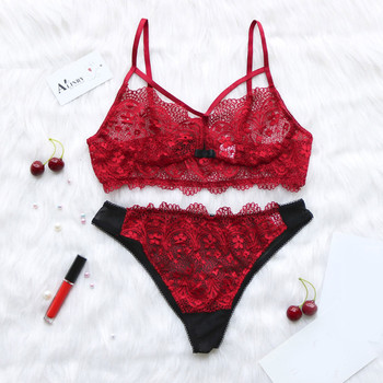 02fa2da9e0d9 Mujer arco de encaje ropa interior Mujer ropa interior conjunto Sexy  Lencería Babydoll ropa de dormir conjuntos de la tentación ropa interior  roja ...