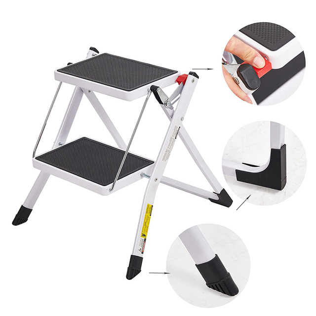 Folding 2 Step Stool Mini Stepladders With Handle And Wide Pedal(11.8x7.