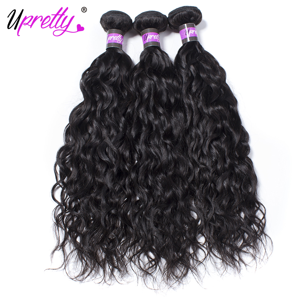 Upretty Hair Brazilian Water Wave Hair 3 Bundles Remy Human Hair Bundles Deal Natural Color 100% Human Hair Weave Bundles