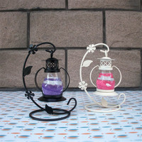 Home Garden Glass Iron Lantern Candle Holder Lamp Home Wax Tea Light Candles Decoration Candle Holders