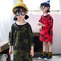 Осень камуфляж платье 2017 детей платья для девочек с длинным рукавом платья детская одежда 3-6 год