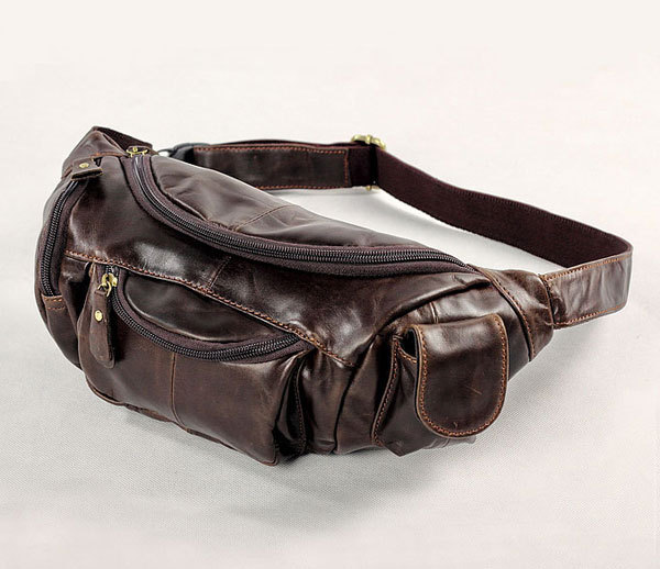 Vintage bags real genuine leather cowhide men waist pack pouch for men leather waist bag travle