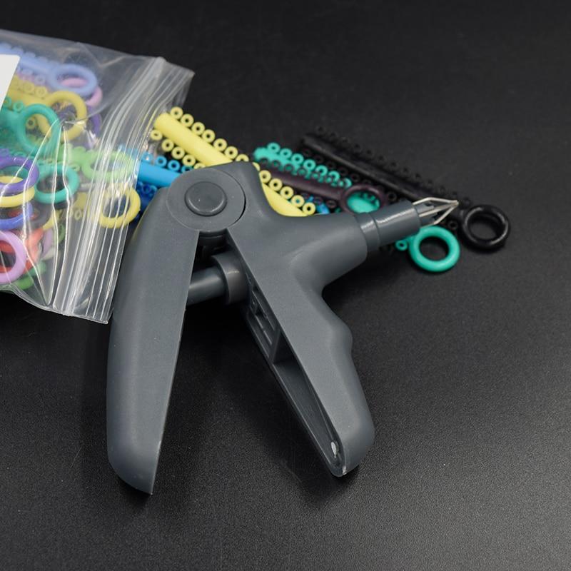 Dental Orthodontics Ligature Gun Dispenser + 1 Pack Elastic Ligature Ties O-Ring Rubber Bands Braces 1040 Pcs Mixed