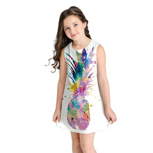 Summer Girl Dress Children Cotton Sleeveless Dresses Fruit Print Kids for Girls Fashion Clothing