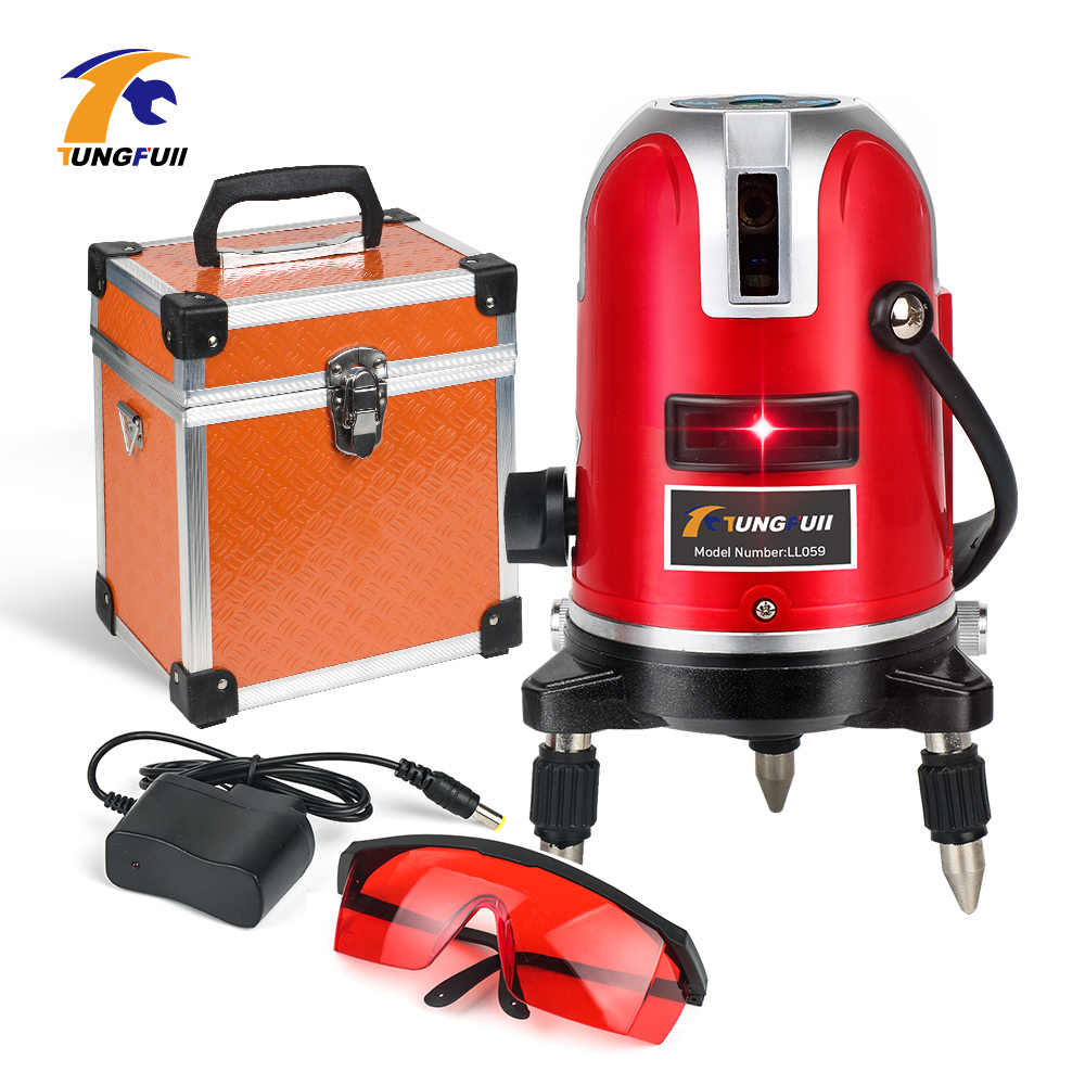 Laser Level 360 Automatic Self-leveling laser 5 Lines 6 Points Cross Powerful Outdoor Laser Cross Line with Free Carrying Case