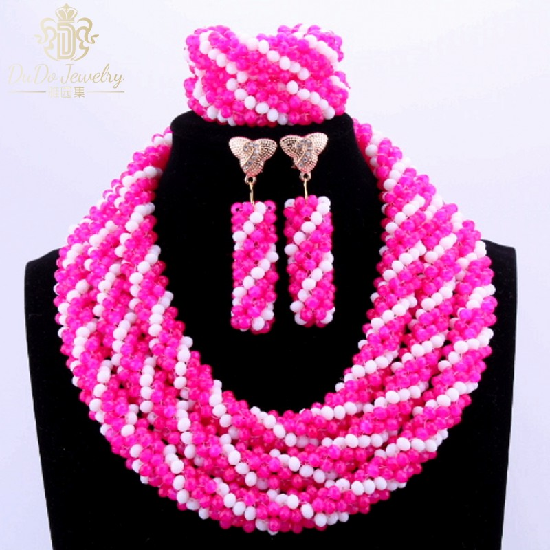 Rose White 3 Layers Set Of Beads Custom Vintage African Nigerian Wedding Jewelry Sets Accessories Celebrity Necklace Sets 2017