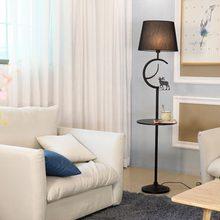Modern Floor Lamp For Living Room Loft Standing Light Fixtrue White Fabric Lampshade Decor Home Lighting Black Iron E27 110-240V