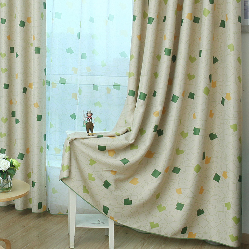 New Cartoon Diamonds Curtains for Children Kids Baby Room Living Room Boy's Bedroom Blackout Curtains Window Treatments Green