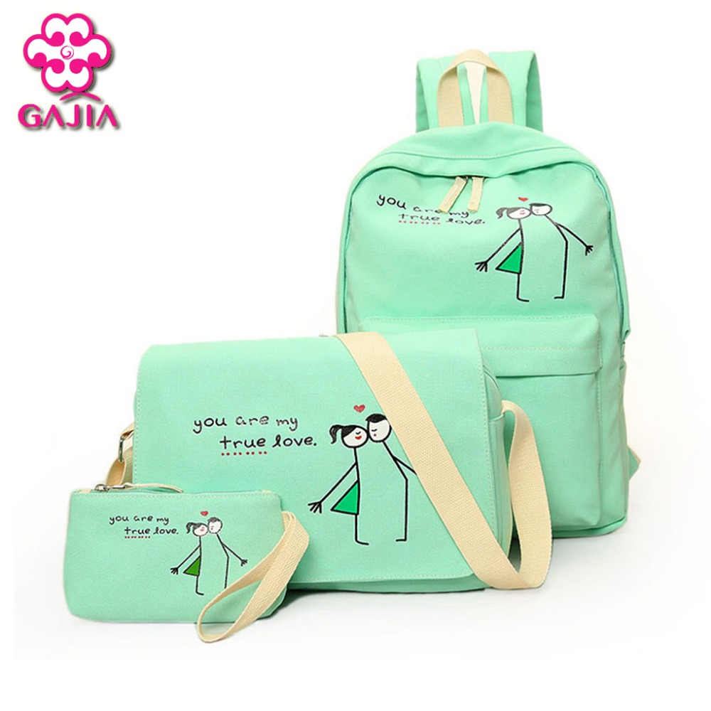 Hot Selling Preppy Style School Bags For Teenagers Unisex Composite Bag Backpacks High Quality Canvas Sets