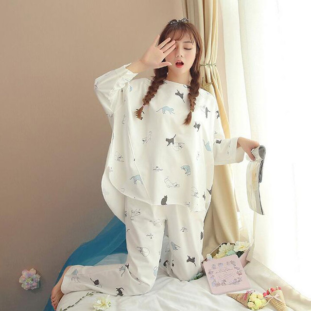 New Fashion Women Pajamas Set Autumn and Spring Ladies Cute Sleepwear Woman's Long Sleeved Household Clothing Set  9 Colors