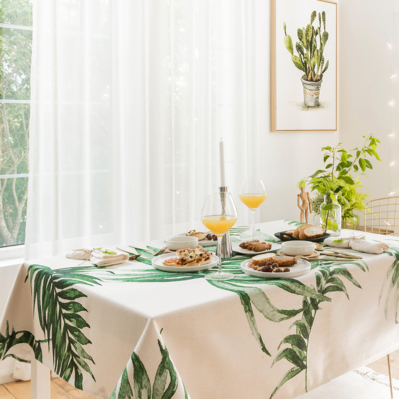 Nordic Green Plant Leaf Tablecloth Dining Table Covers