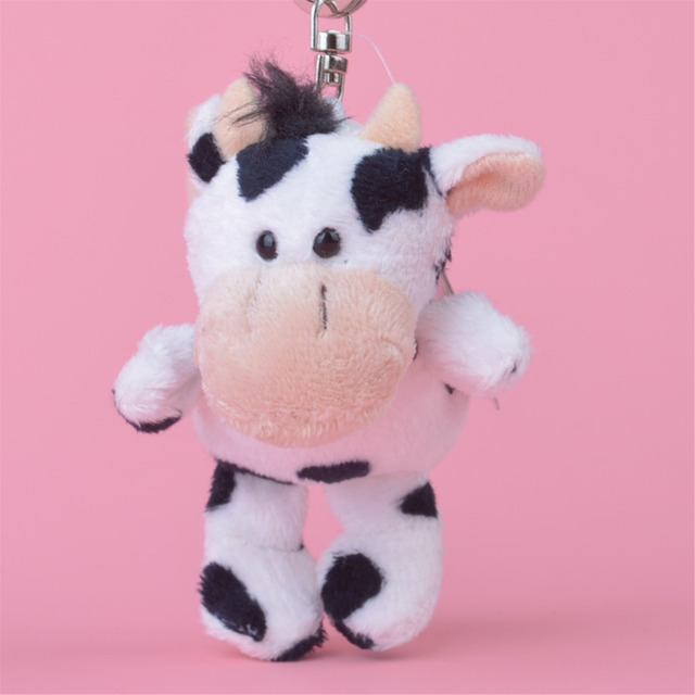 3 Pcs Cow Small Plush Pendant Toy Kids Doll Keychain Keyholder