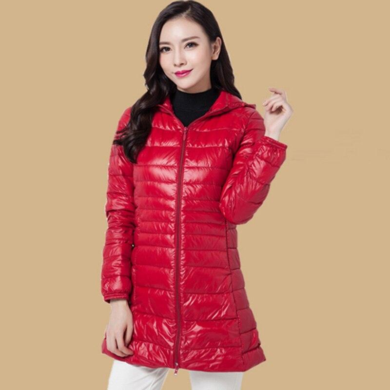 Autumn winter women white duck   down   jacket 2018 long hooded   down     coat   ultra light portable plus size 6XL   down   slim jacket QH1259