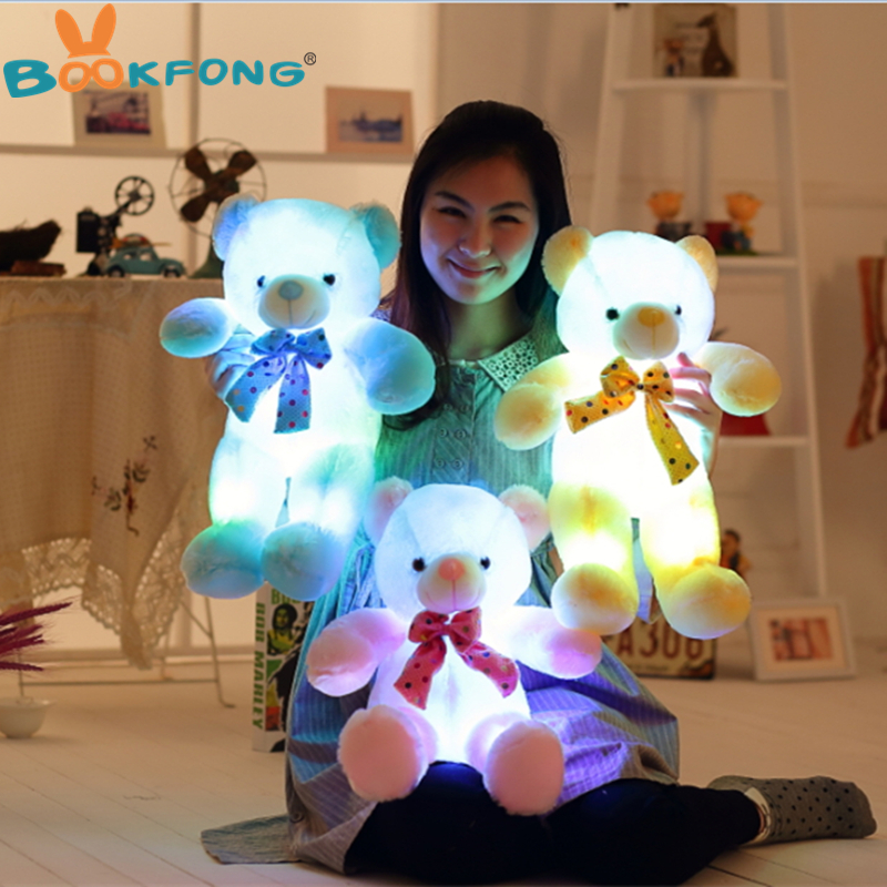 BOOKFONG Colorful Luminous LED Teddy Bear Toy Light-Up Plush Doll Glow Teddy Pillow Christmas Gift 50cm large cute plush led panda teddy bear doll new year s gift colorful rainbow flash light children girl toy