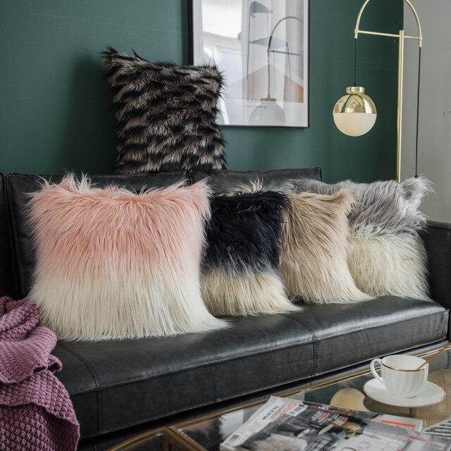 Beige Fluffy Cushion Cover 1