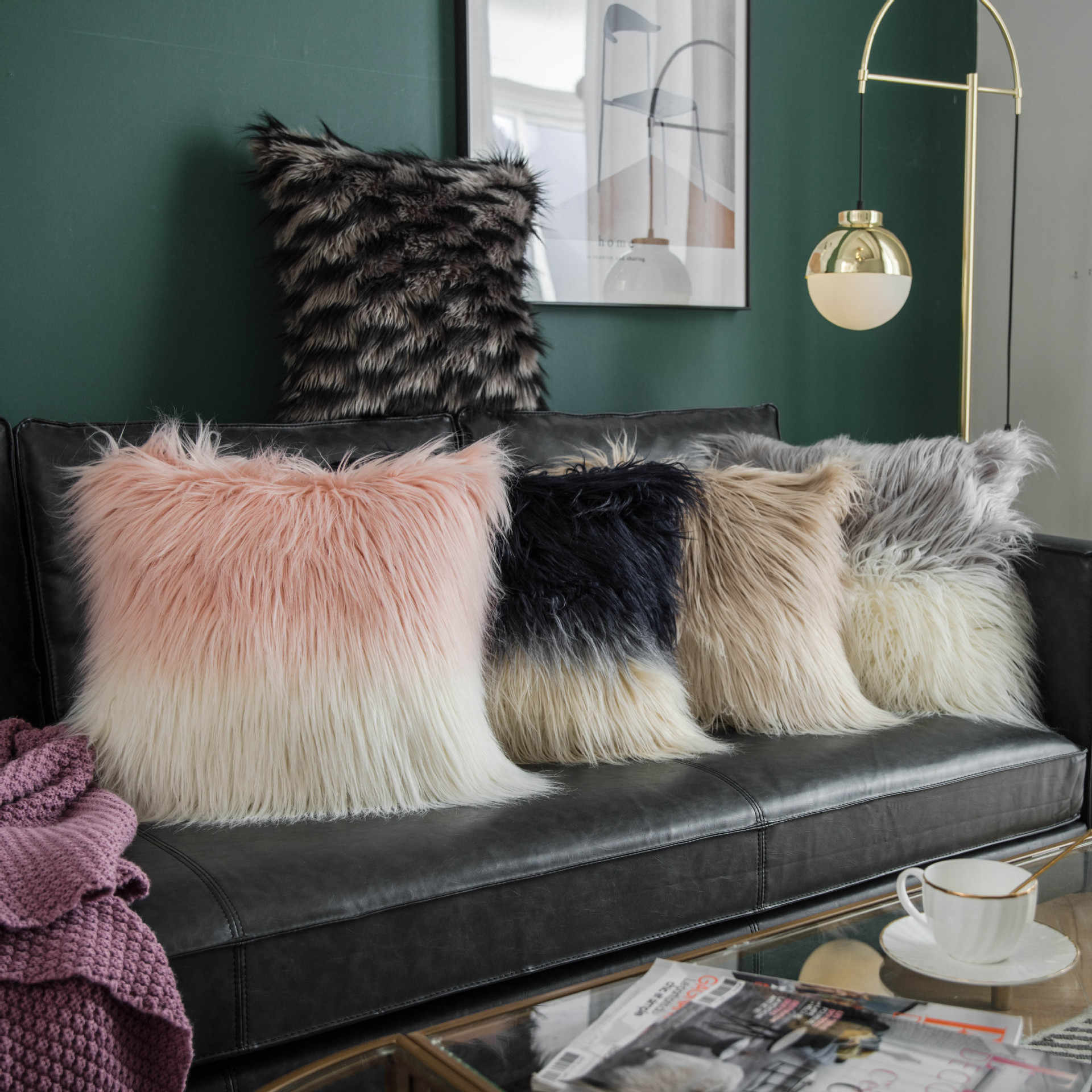 double color faux wool fur cushion covers fluffy soft plush throw pillow cover pillowcase pillowslip sofa car decor washable