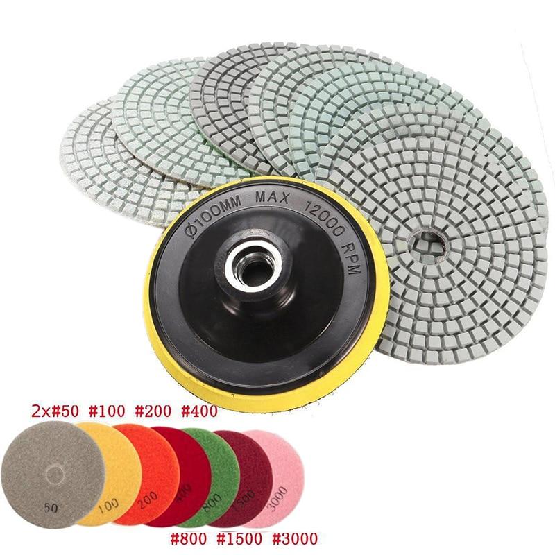 8pcs 4 inch Diamond Polishing Pads Wet/Dry Granite Concrete Marble Sanding Disc Set with Backer Pad dc accpp02 premium 4 inch diamond wet polishing pads for granite