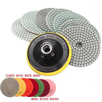 8pcs 4 Inch Diamond Polishing Pads Wet Dry Granite Concrete Marble Sanding Disc Set With Backer