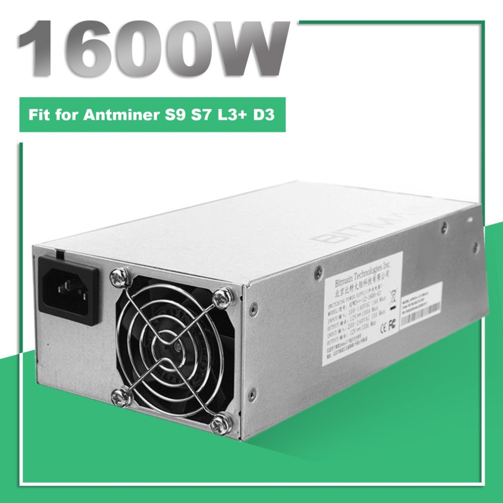 цена на 1600W High Power Bitmain APW3++ PSU Mining Machine Power Supply Built-in Cooling Fan for Antminer Bitcoin Miners S9 S7 L3+ D3