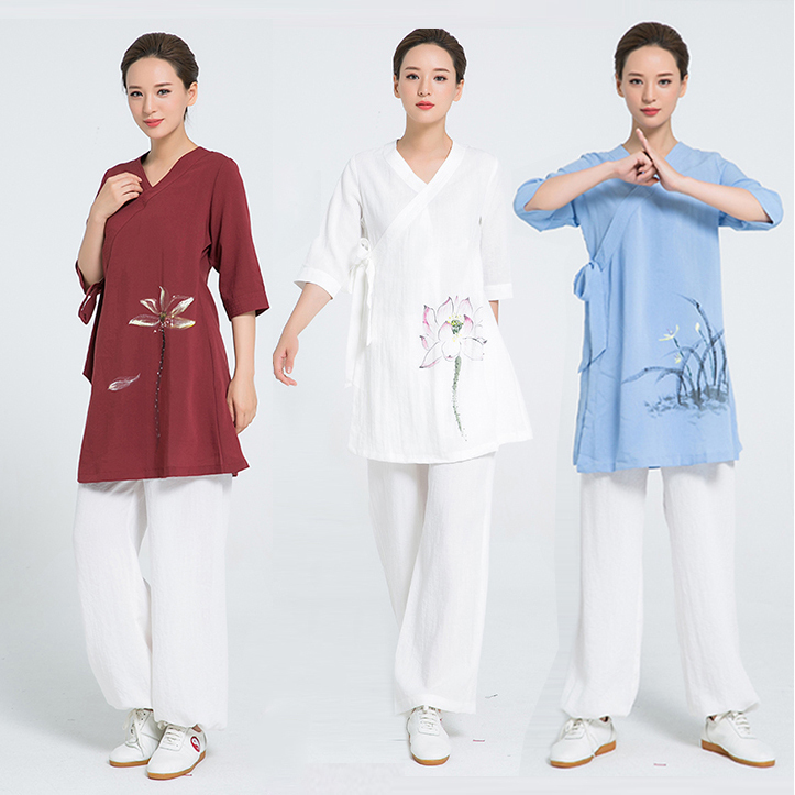 2018 Linen Kung Fu Clothes Hand Painted Tai Chi Clothing Women Uniform Include Top And Pants 4 Colors Burgundy Blue Violet White